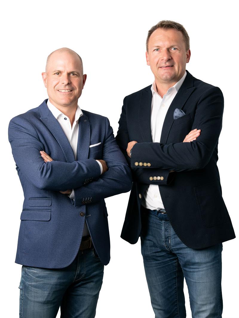 Die Geschäftsführer und Werbeartikel Profis Stephan Mahlknecht und Michael Mäusl